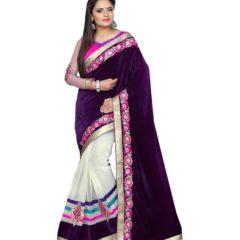 Veddeal-Purple-N-Off-White-saree