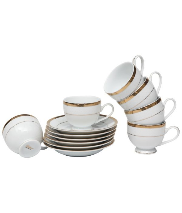 Lakline Porcelain Cups And Saucers Set - 12 Pcs