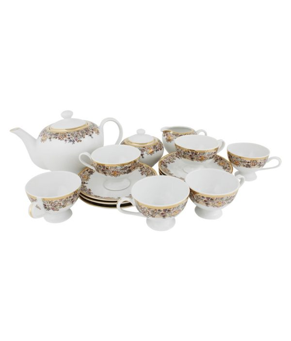 Azure White Porcelain Tea Set - 17 Pcs