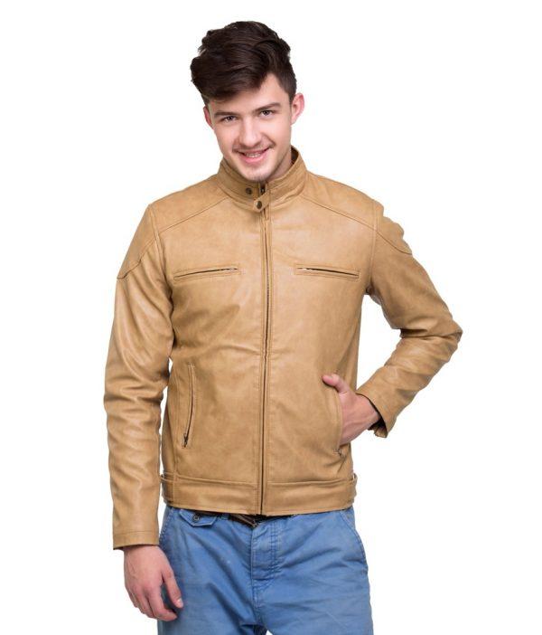Lambency Stylish Ride Beige Wind Proof Men Jacket