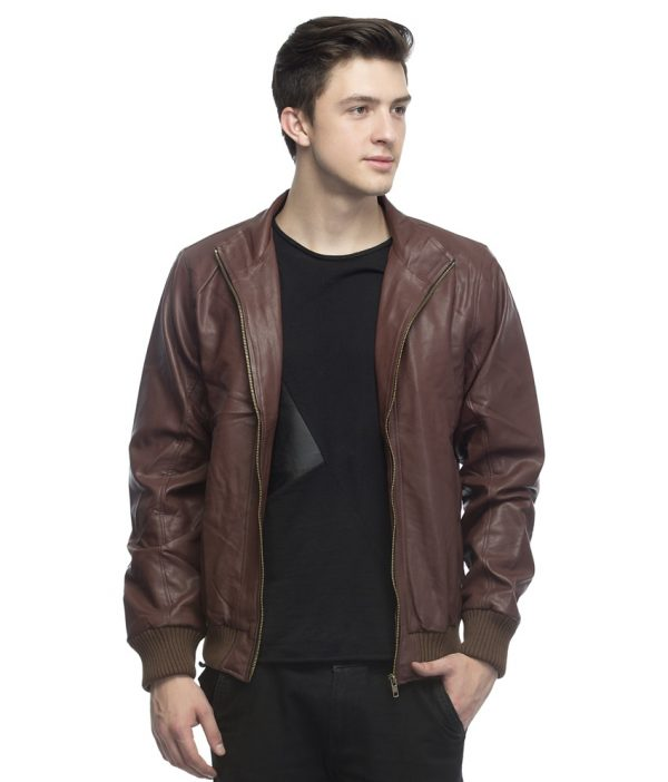 Lambency Brown Leather Casual Jacket