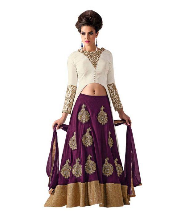 Style Mania Purple Velvet Lehenga