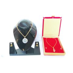 Gold Plated Dark Blue Double Pendant Jewelry Set