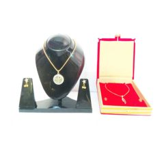 Gold-Plated-Light-Blue-Double-Pendant-Jewelry-Set