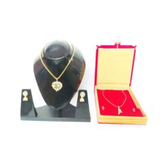 Gold-Plated-Love-Locket-Spiral-shape-double-combo-Jewelry-set