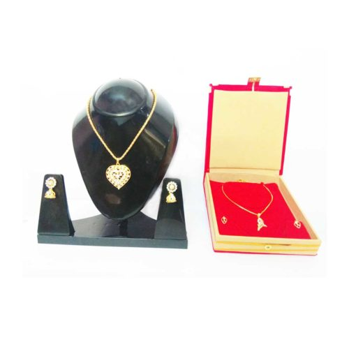 Gold-Plated-Love-shaped-Locket-Spiral-shape-double-combo-Jewelry-set