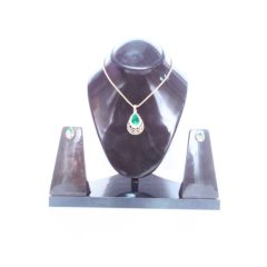 Golden Plated Green Pendant with Earings