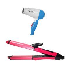 NOVA-Hair-Dryer--Straightner-and-Curler-2in1-Beauty-set-Combo-Pack