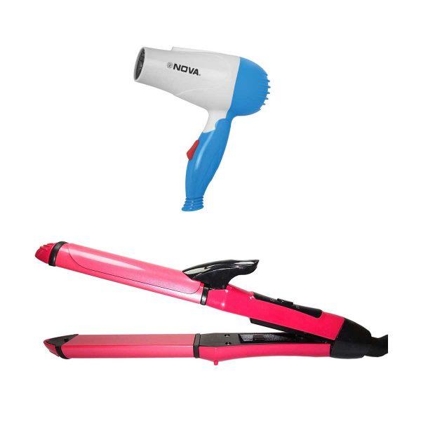 NOVA Hair Dryer & Straightener & Curler 2 in 1 Beauty Set