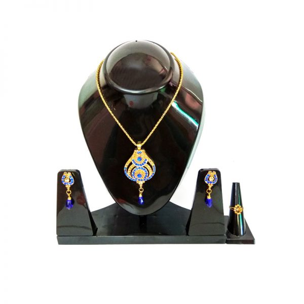 Gold Plated Royal Blue Pendant With Earrings and Rings